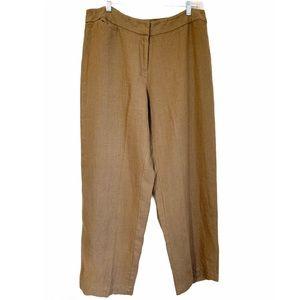 Eileen Fisher Linen Wide Leg Tan High Rise Pants